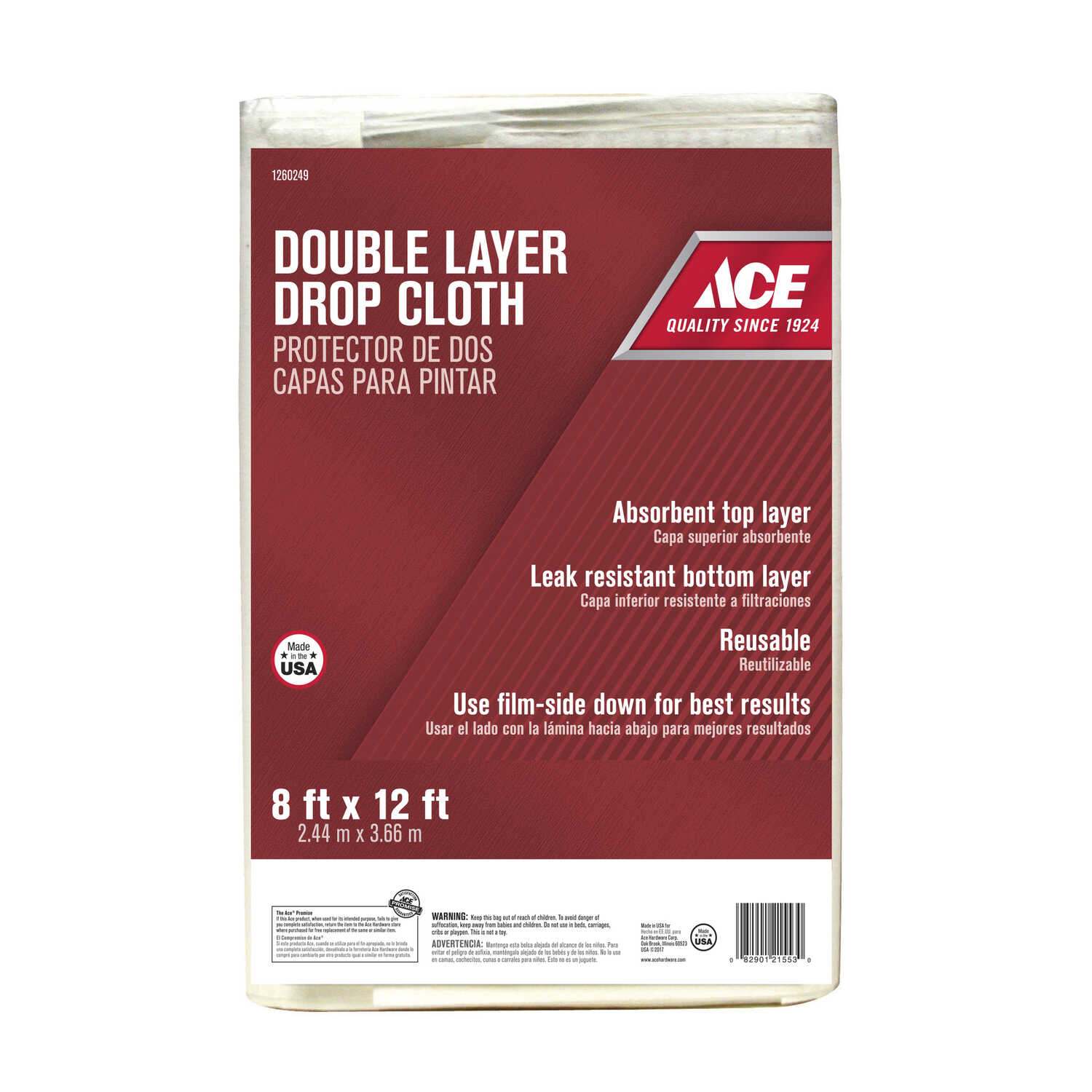 ACE  8 ft. W x 12 ft. L Plastic  Drop Cloth  1 pk