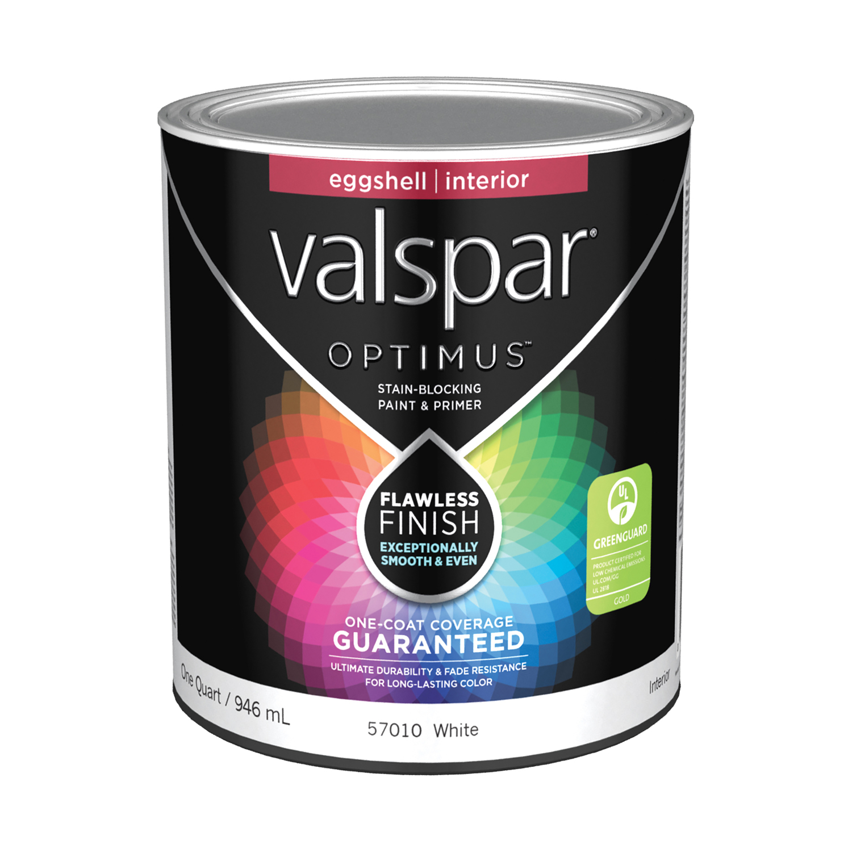 Valspar Optimus Eggshell Basic White Acylic Latex 1 Qt Paint
