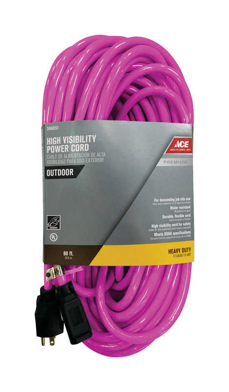 Ace  Outdoor  80 ft. L Neon Pink  Extension Cord  12/3 SJTW