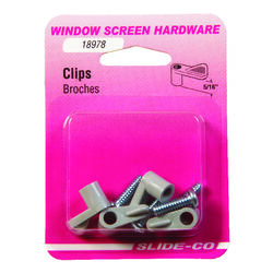 Slide-Co  Gray  Plastic  Screen Clip  For 5/16 inch 4 pk
