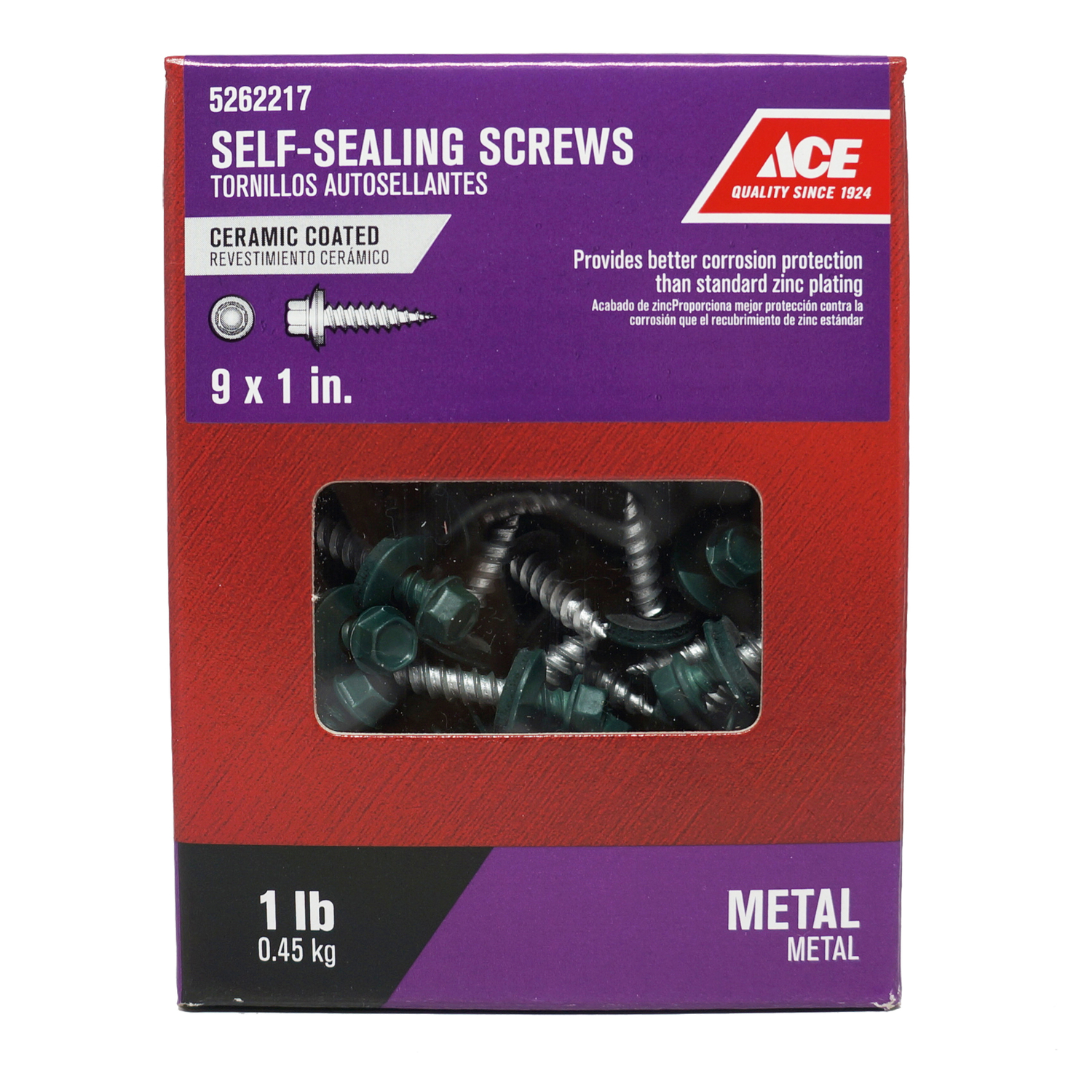 Ace  9 Sizes  x 1 in. L Hex  Hex Washer Head Ceramic  Self-Sealing Screws  1 lb. Steel