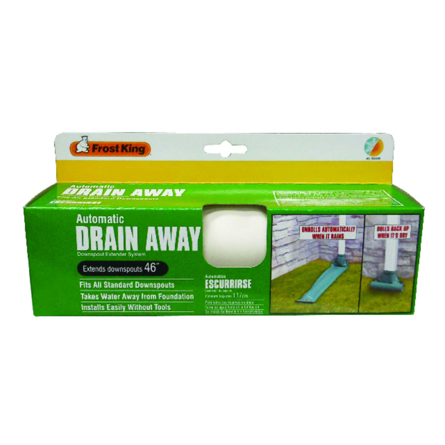 Frost King  Drain Away  8-1/2 in. W x 4 ft. L White  Plastic  Downspout Extension