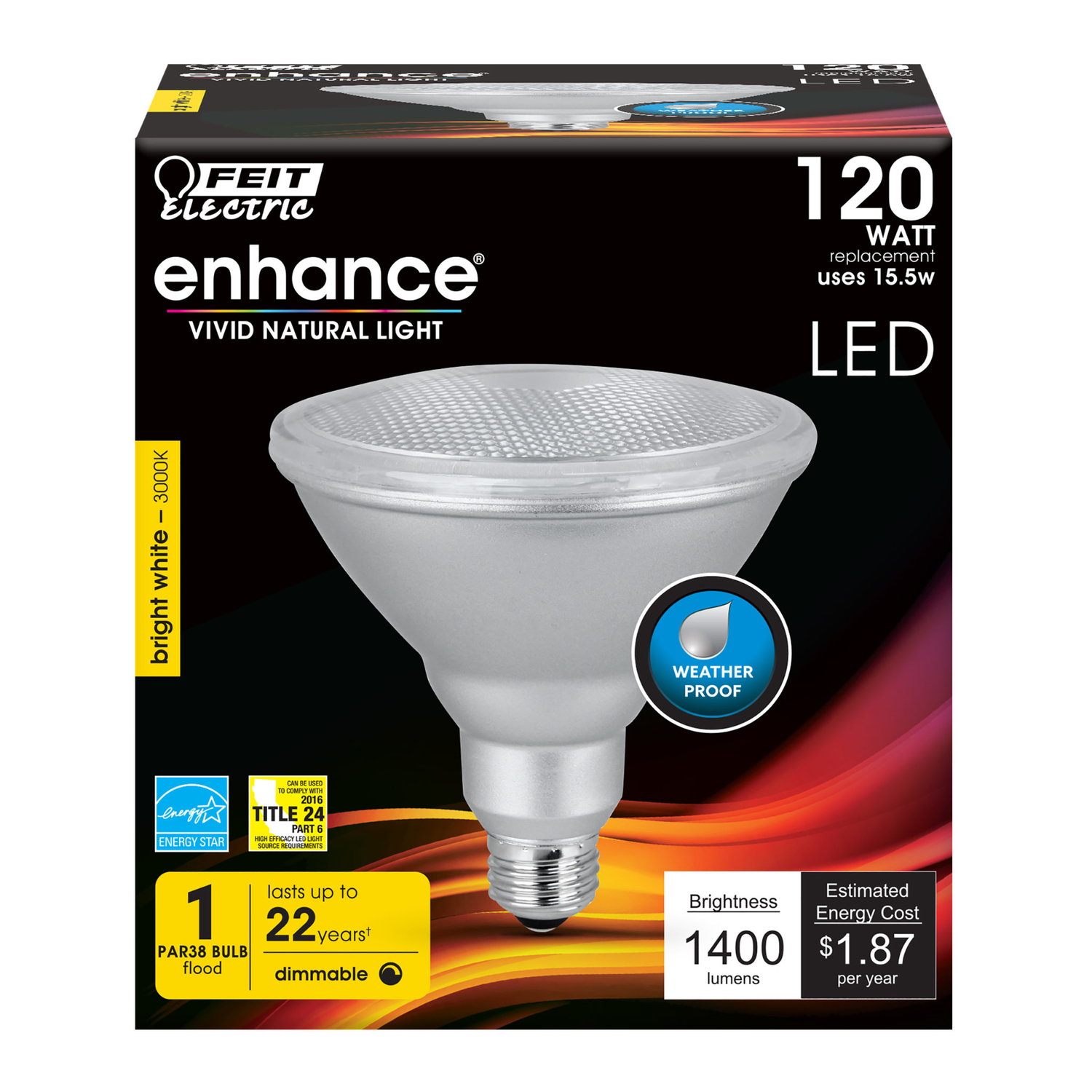 FEIT Electric  15.5 watts PAR38  LED Bulb  1400 lumens Warm White  Floodlight  120 Watt Equivalence