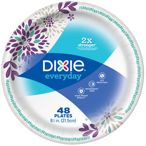 Dixie  Assorted  Paper  FLOWERS BLOOM  Dinner Plate  8-1/2 in. Dia. 48 pk