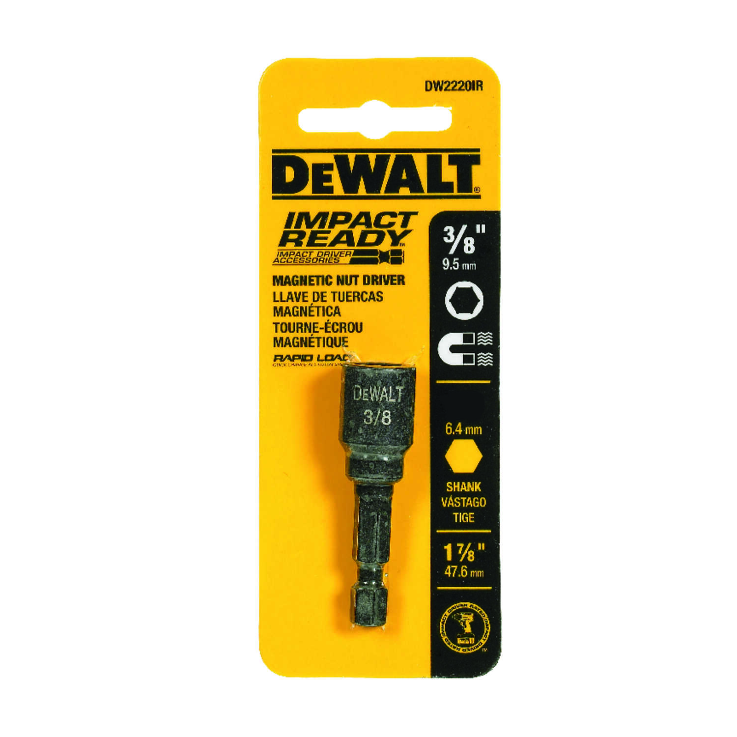 DeWalt  Impact Ready  3/8 in.  x 1-7/8 in. L Black Oxide  Nut Driver  1/4 in. Quick-Change Hex Shank