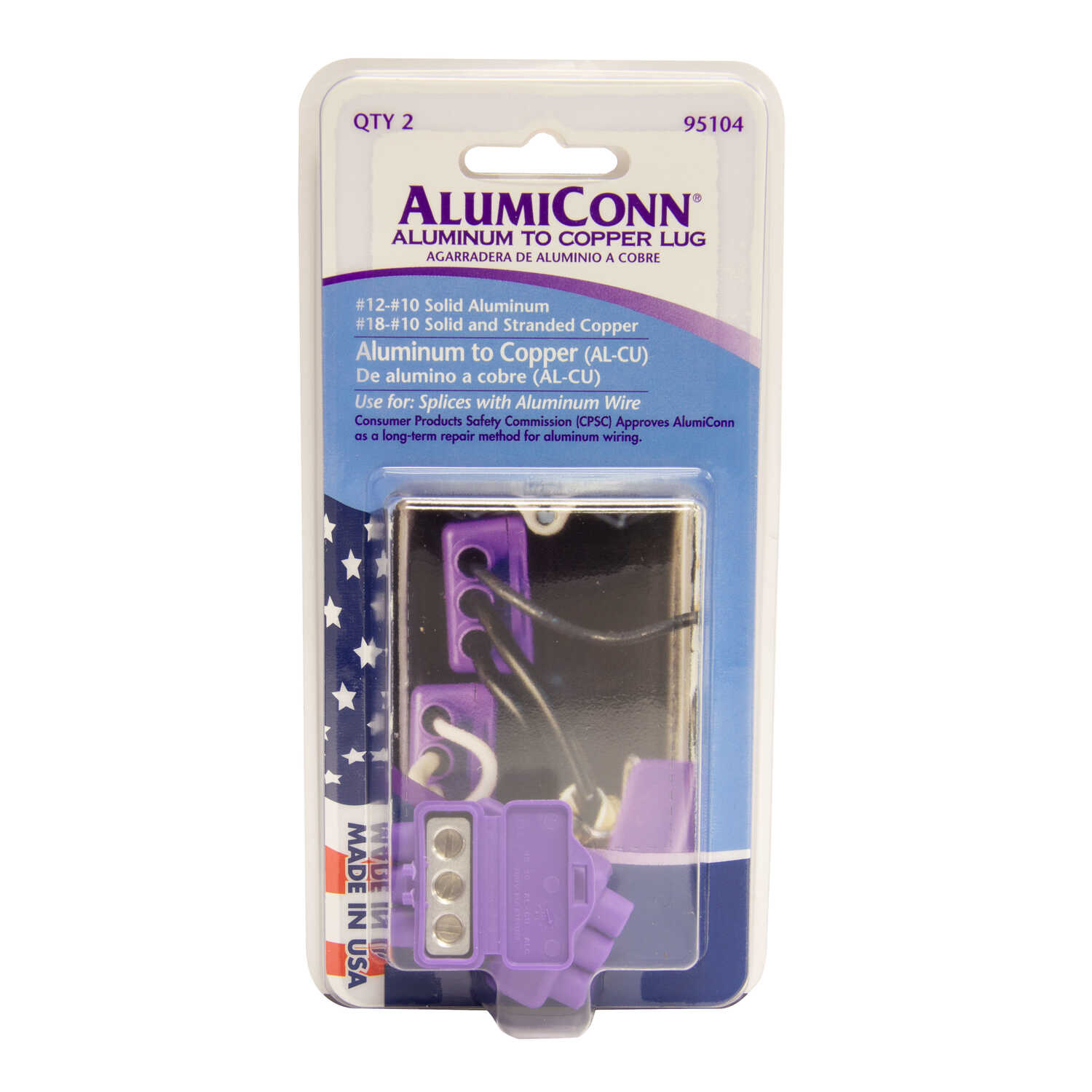 King Innovation  AlumiConn  Aluminium Wire  Aluminum to Copper Lug  Purple  2 pk