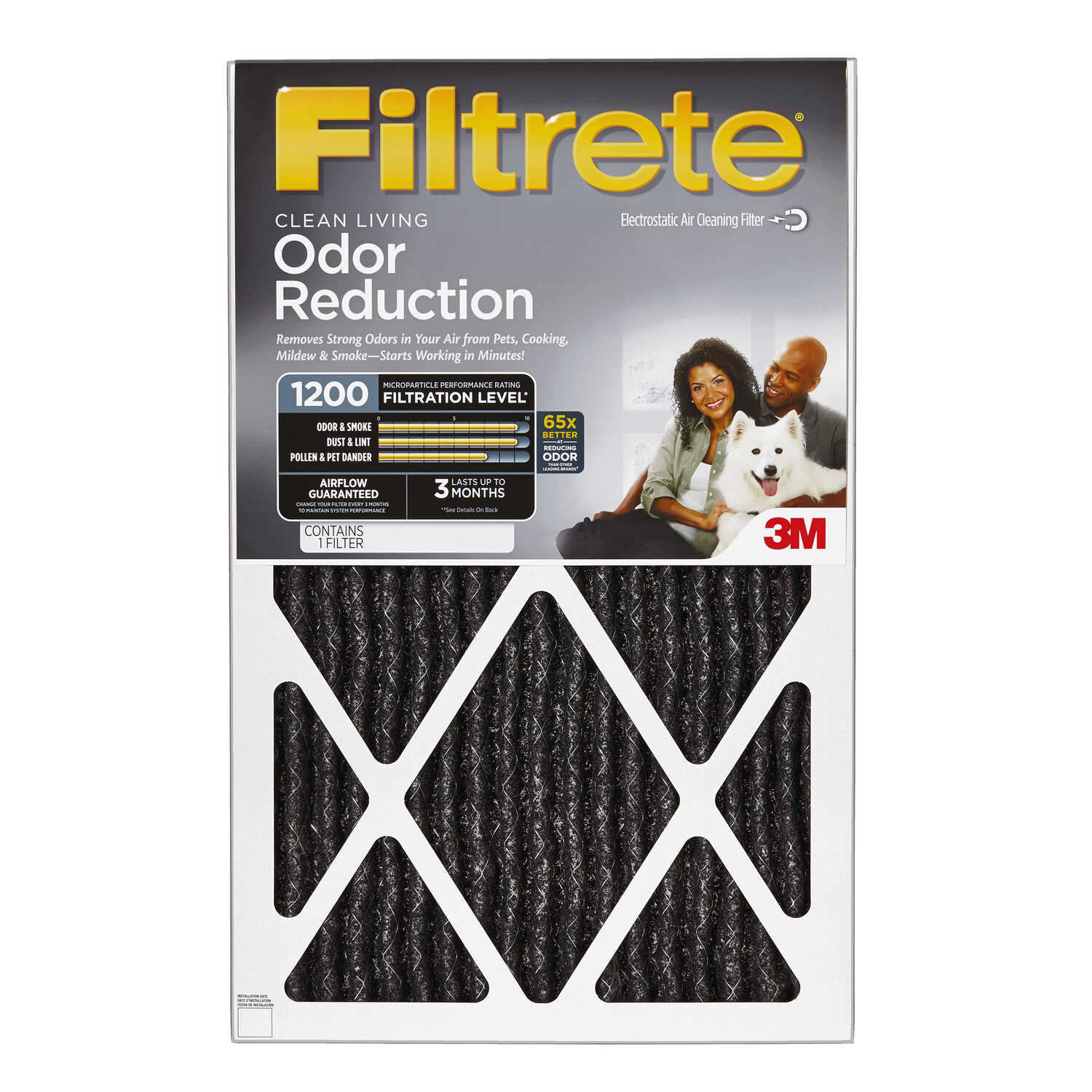 3M  Filtrete  25 in. H x 14 in. W x 1 in. D Carbon  Air Filter