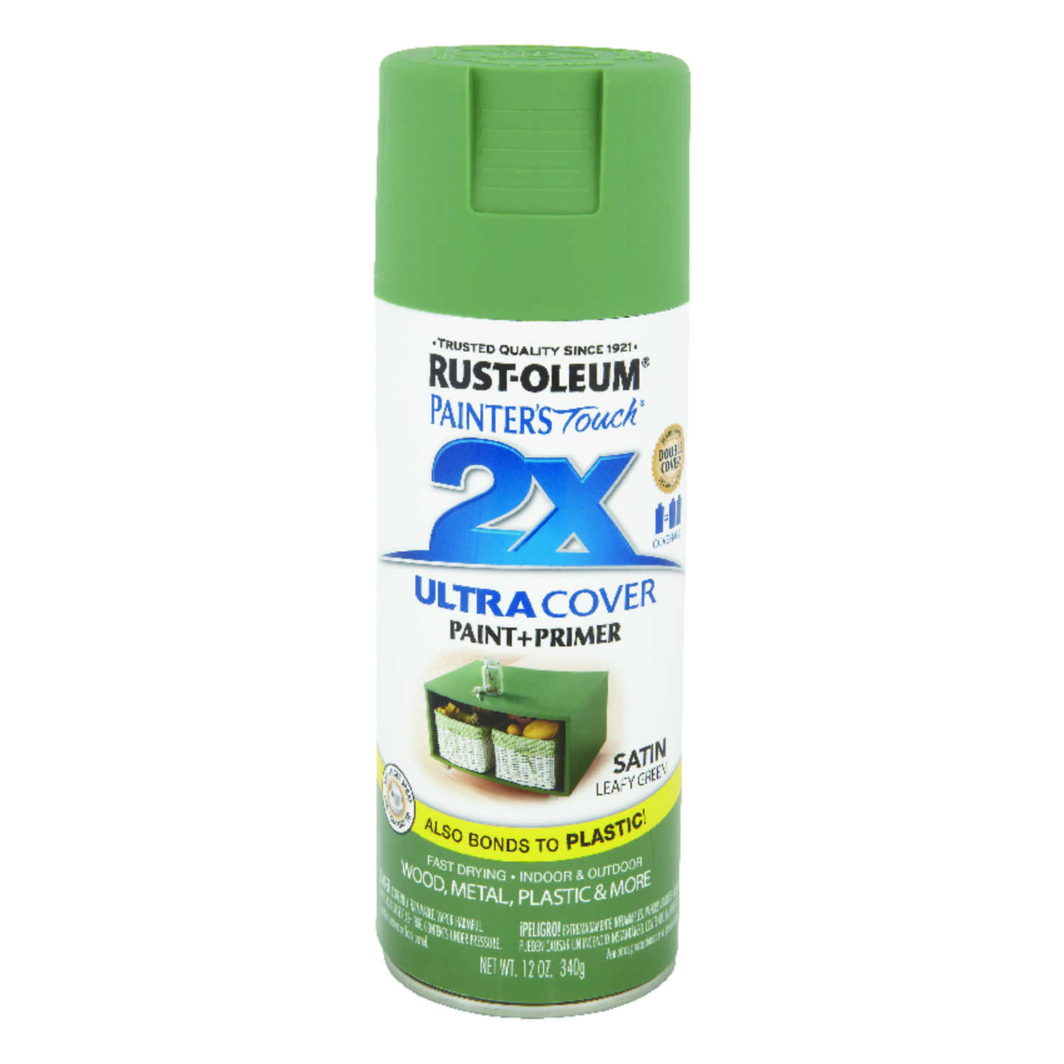Rust-Oleum  Painter's Touch Ultra Cover  Satin  Leafy Green  Spray Paint  12 oz.