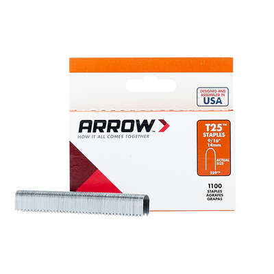 Arrow Fastener  T25  1/4 in. W x 9/16 in. L 18 Ga. Round Crown  Wire Staples  1100 pk