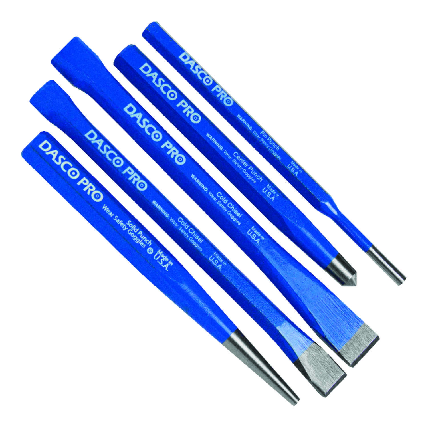 Dasco Pro  High Carbon Steel  Punch and Chisel Set  5 pc.