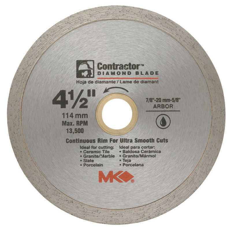M.K. Diamond  4-1/2 in. Dia. x 7/8-5/8 in.  Contractor  Diamond  Continuous Rim Circular Saw Blade