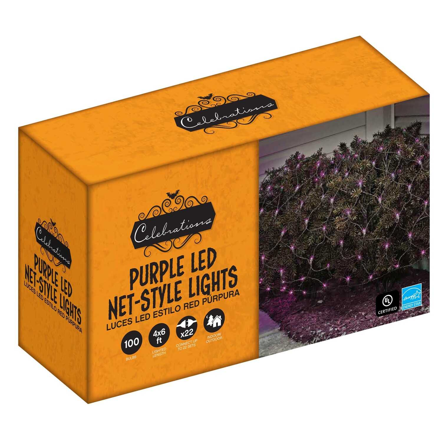 Celebrations  LED Net  Lighted Purple  Halloween Lights  6 in. L 100 count