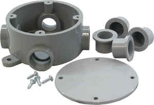 Cantex  4-3/4 in. Round  PVC  1 gang Junction Box  Gray