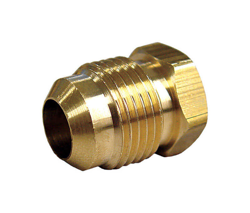 JMF  3/8 in. Dia. Flare To Flared  Yellow Brass  Hex Plug