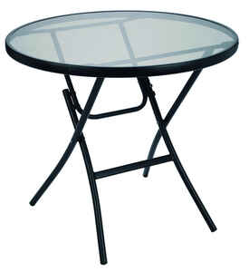 Living Accents  Glass Top  Round  Black  Folding  Table