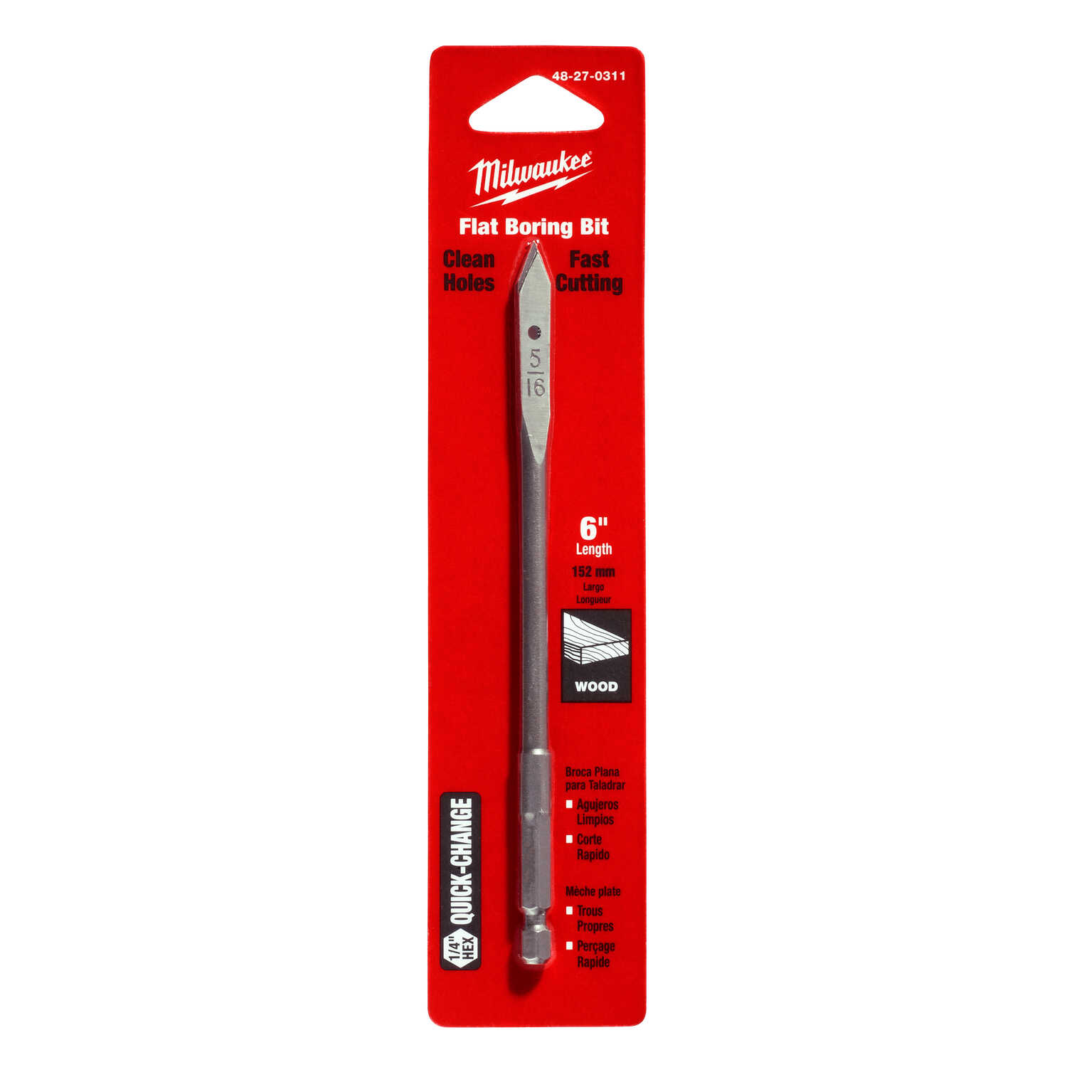 Milwaukee  5/16 in. Dia. x 6 in. L Flat Boring  Auger Bit  Carbon Steel  1/4 in. Hex Shank  1 pc.