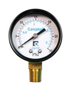 Campbell  2 in. 0 psi 30 psi Pressure Gauge