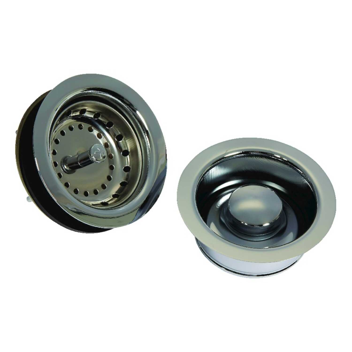 Ace  3 1/2 in. Polished Chrome  Brass  Strainer Assembly and Disposal Flange Set