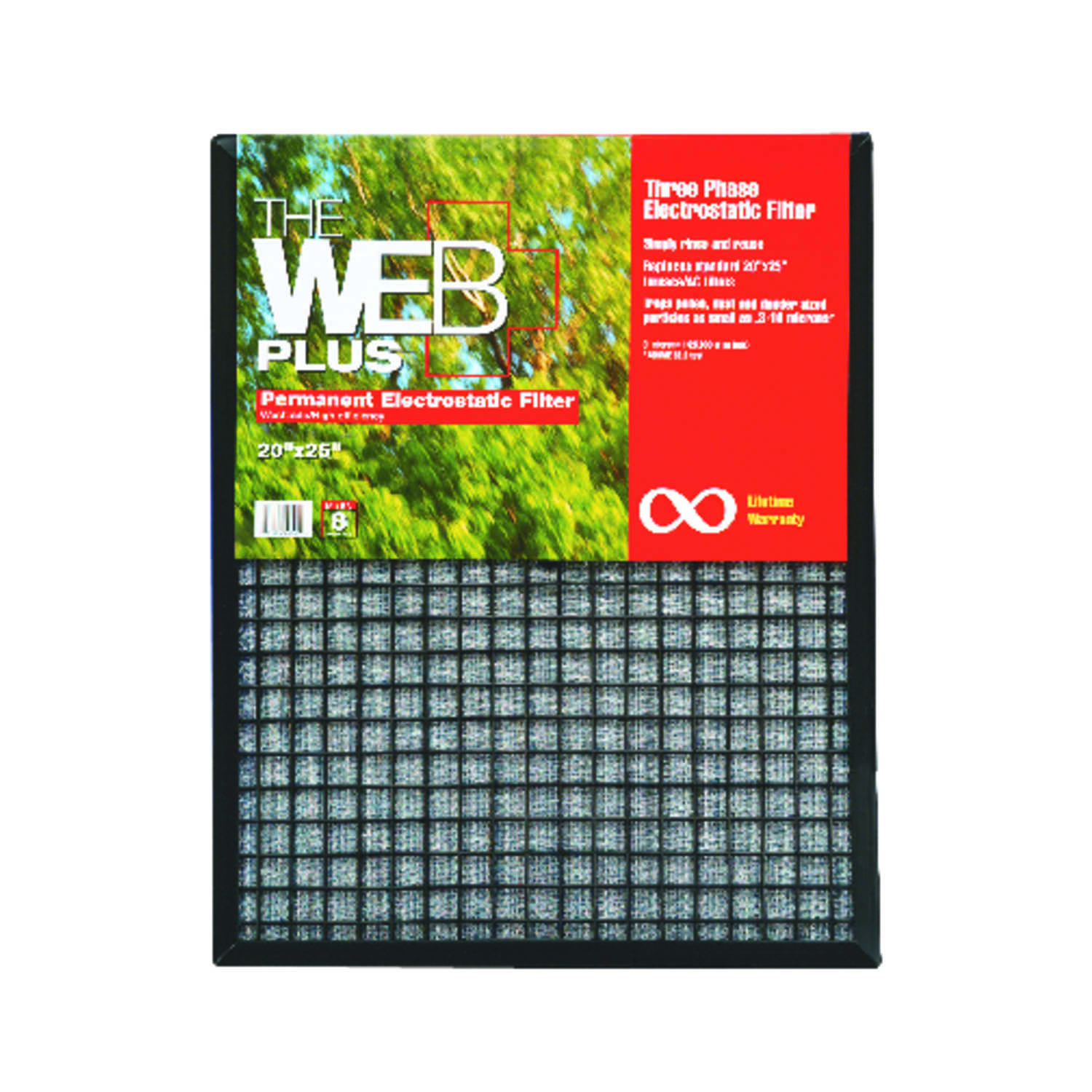 Web  Plus  20 in. W x 25 in. H x 1 in. D Polyester  Pleated Air Filter