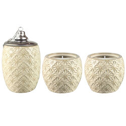 Outdoozie Gold Ceramic Sunburst Tabletop Torch and Candle Set 3 pk