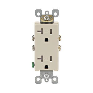 Leviton  Decora  20 amps 125 volt Light Almond  Tamper Resistant Outlet  5-20R  1 pk