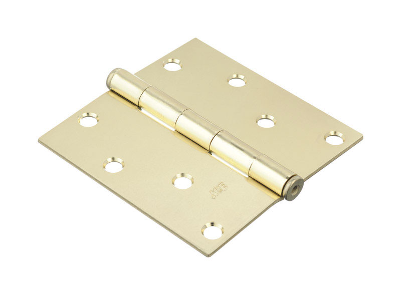 Ace  4 in. L Bright Brass  Steel  Door Hinge  2 pk