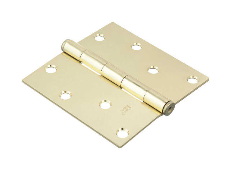 Ace  4 in. L Bright Brass  Door Hinge  2 pk