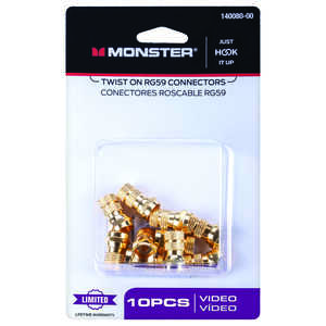 Monster Cable  Twist-On  RG59  Coaxial Connector  10 pk