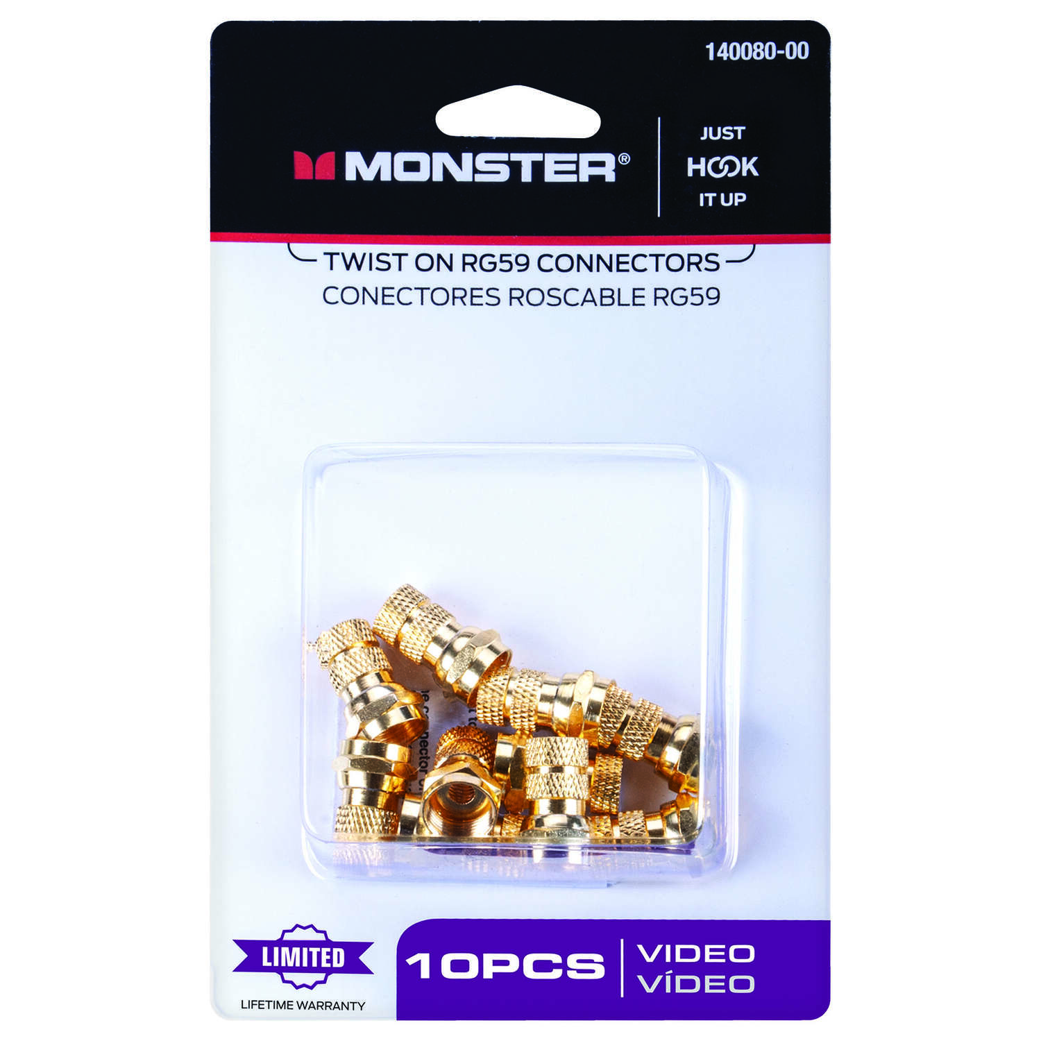 Monster Cable  Just Hook It Up  Twist-On  RG59  Coaxial Connector  10 pk