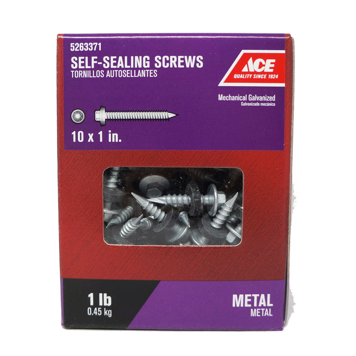 Ace  1 in. L x 10 Sizes  Hex Head Galvanized  Self-Sealing Screws  1 lb. Steel