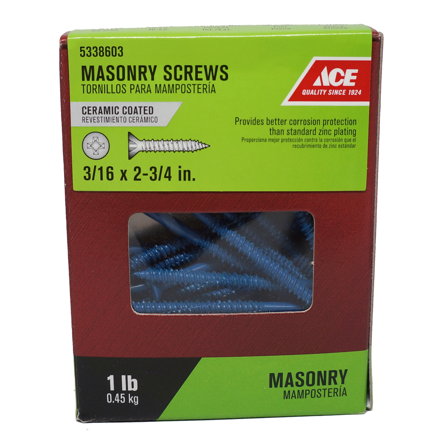Ace  3/16 in.   x 2-3/4 in. L Phillips  Flat Head Ceramic  Steel  Masonry Screws  1 lb. 70 each