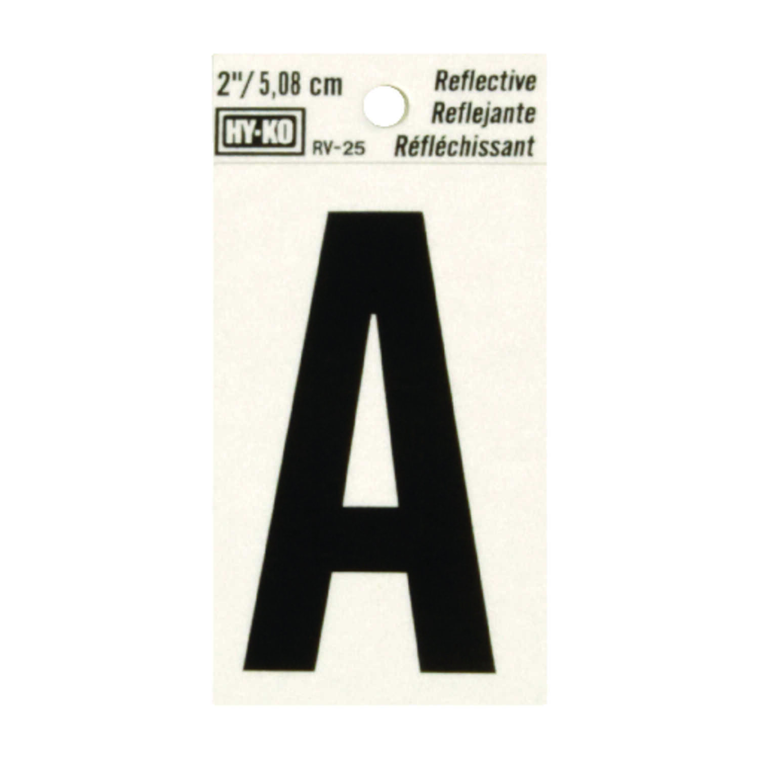 Hy-Ko  2 in. Reflective Black  Vinyl  Letter  A  Self-Adhesive  1 pc.