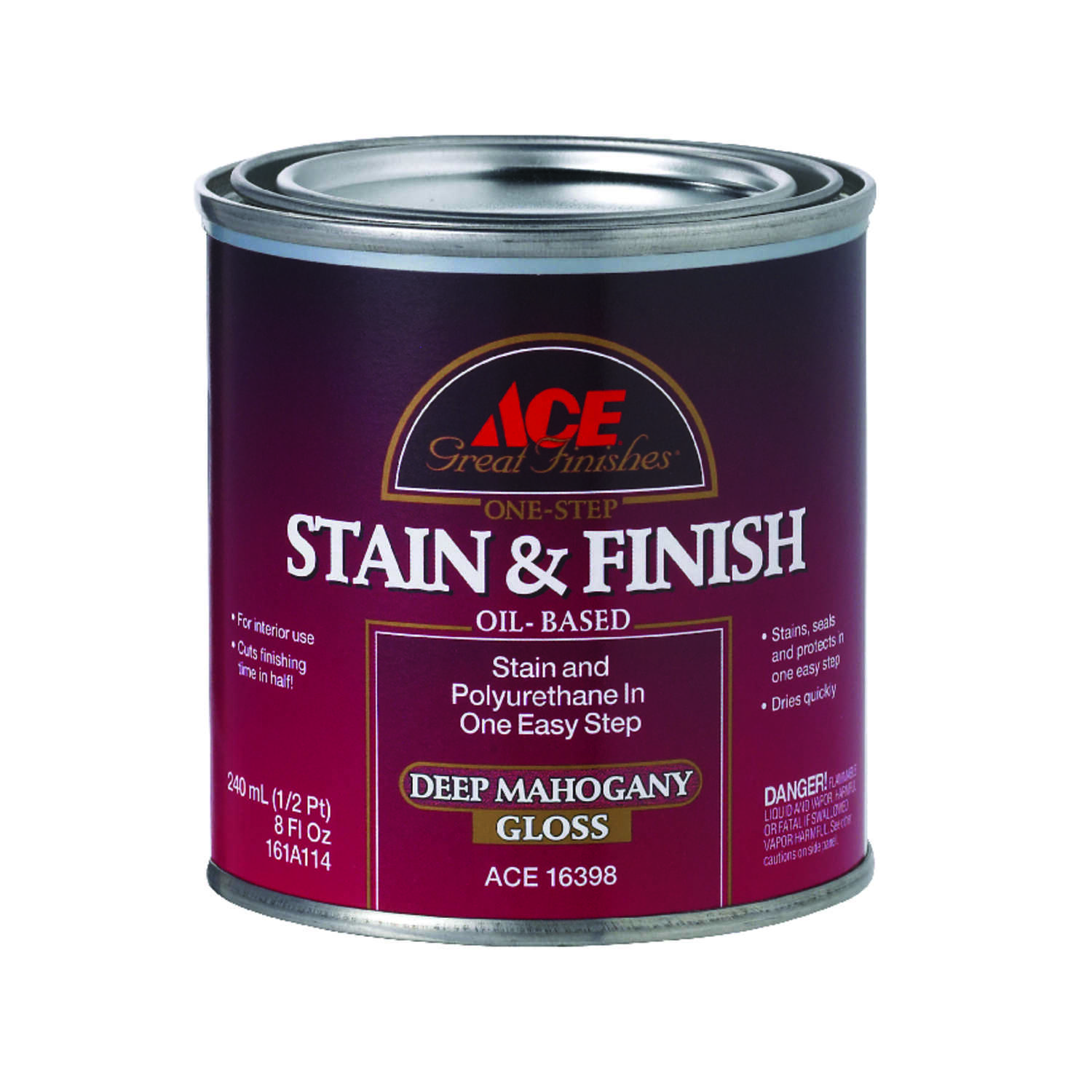 Ace  Great Finishes  Semi-Solid  Gloss  Deep Mahogany  Oil-Based  Oil  Wood Stain and Sealer  1/2 pt