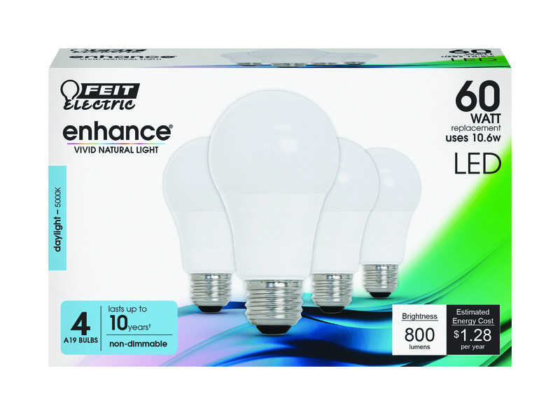 FEIT Electric  Enhance  A19  E26 (Medium)  LED Bulb  Daylight  60 Watt Equivalence 4 pk