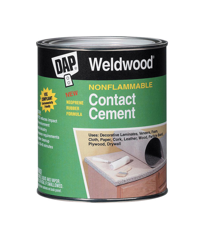 DAP Weldwood High Strength Synthetic Rubber Contact Cement 1 gal. Weldwood nonflammable contact cement is a high solids polychloroprene, waterborne contact adhesive that meets the stringent requirements of the professional user.