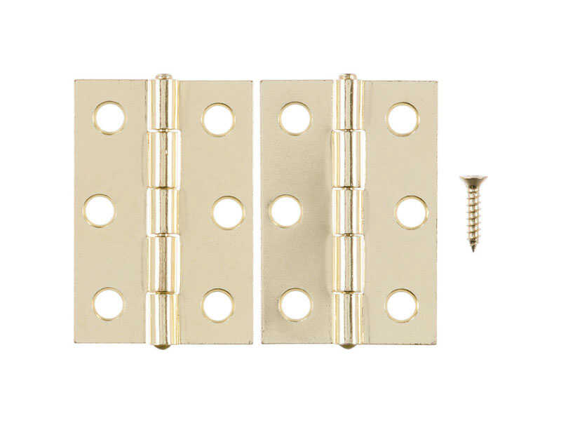 Ace  2-1/2 in. L Bright Brass  Steel  Narrow Hinge  2 pk