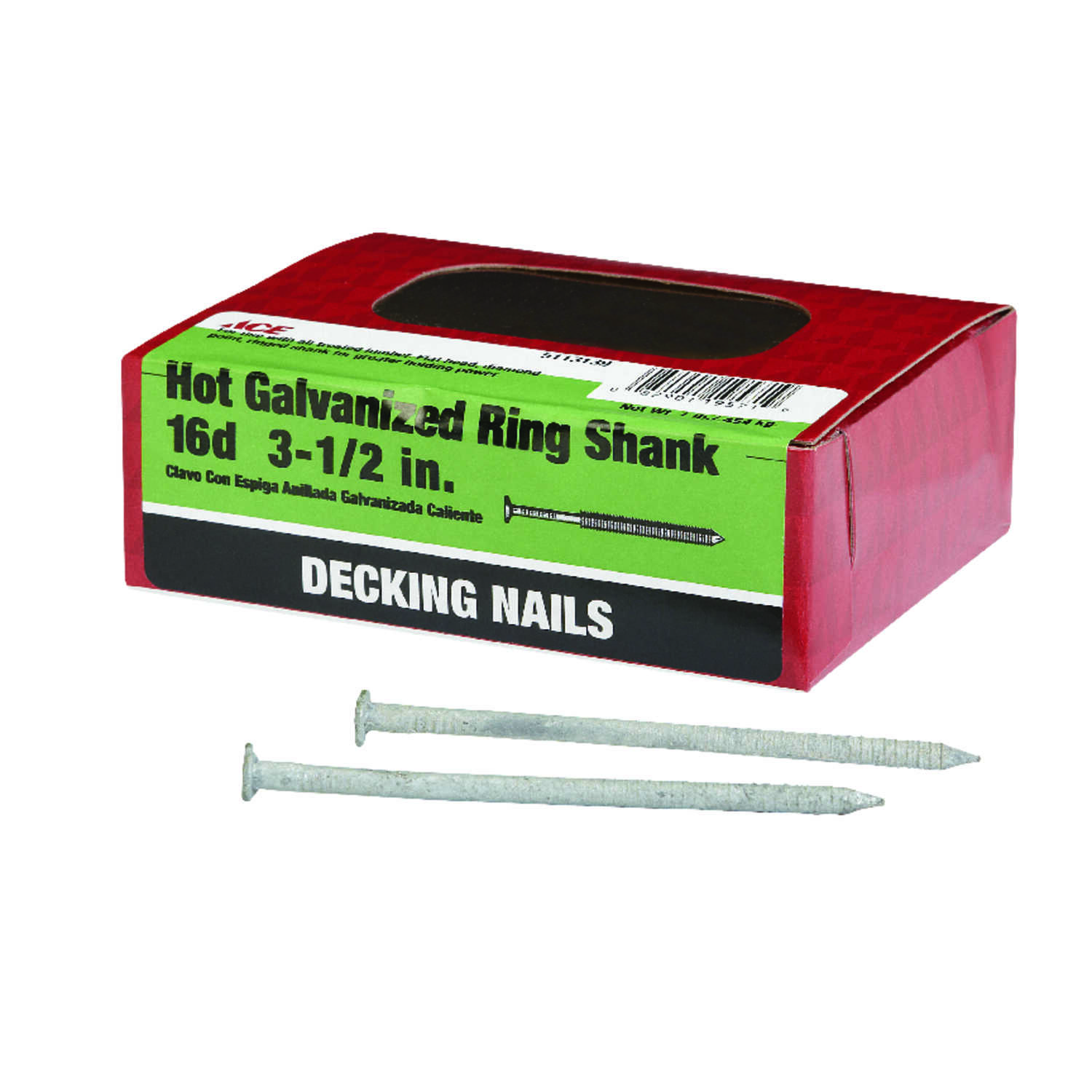 Ace  16D  3-1/2 in. L Deck  Hot-Dipped Galvanized  Steel  Nail  Annular Ring Shank  Flat  1 lb.