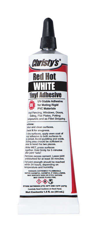 Christys  Red Hot  White  White  Adhesive  1.5 oz. For PVC/Vinyl 1.5 oz.