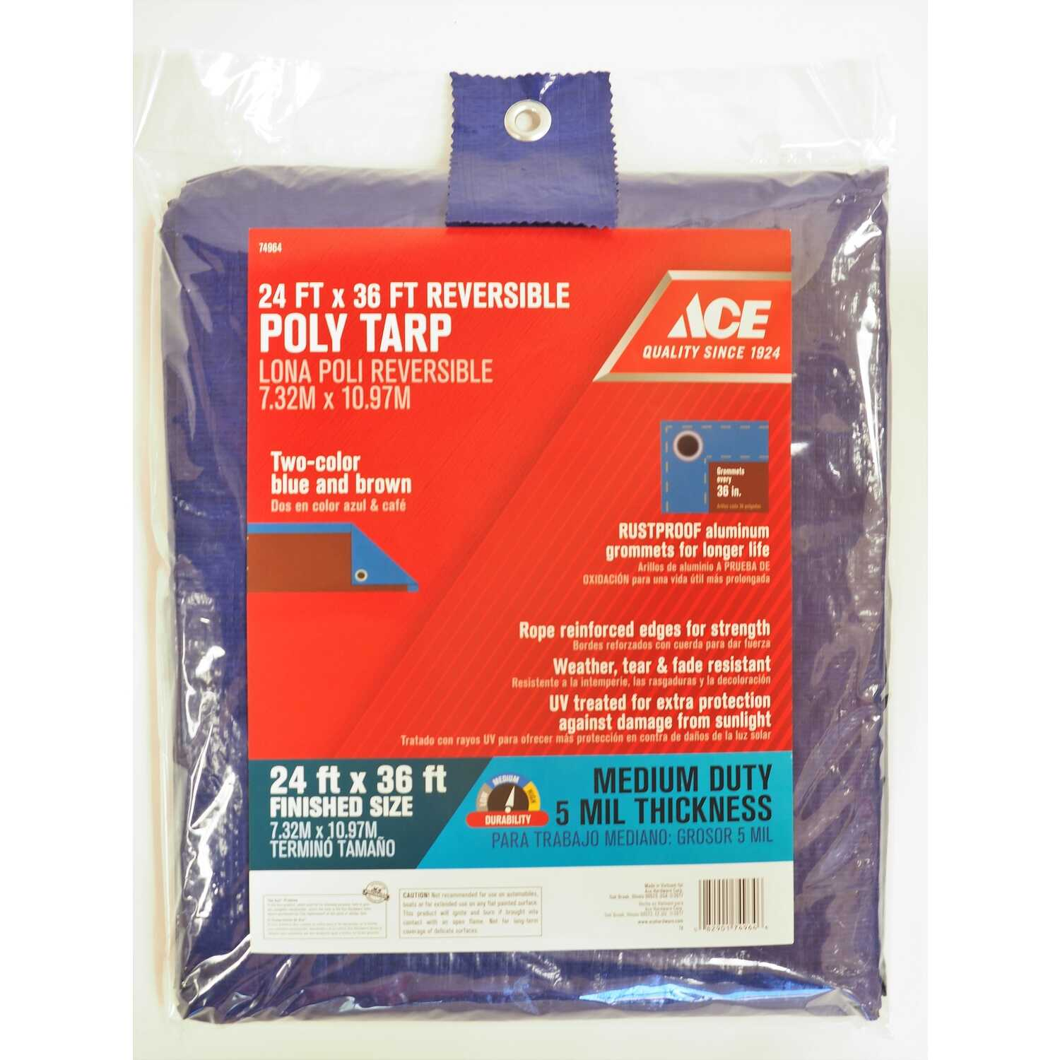 Ace  24 ft. W x 36 ft. L Medium Duty  Blue/Brown  Tarp  Polyethylene