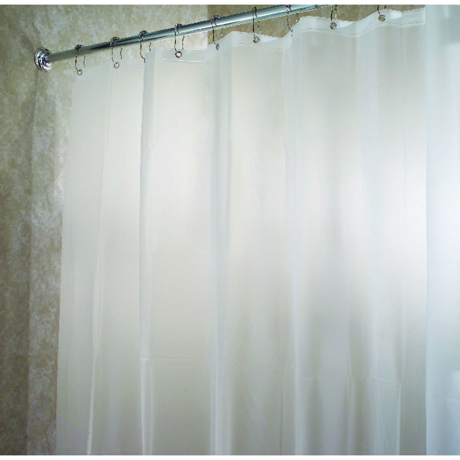 InterDesign  72 in. H x 72 in. W White  Solid  Shower Curtain Liner