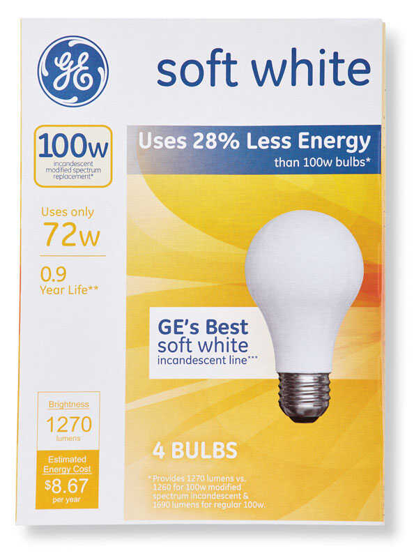 GE  72 watts A19  Halogen Bulb  1270 lumens Soft White  4 pk A-Line