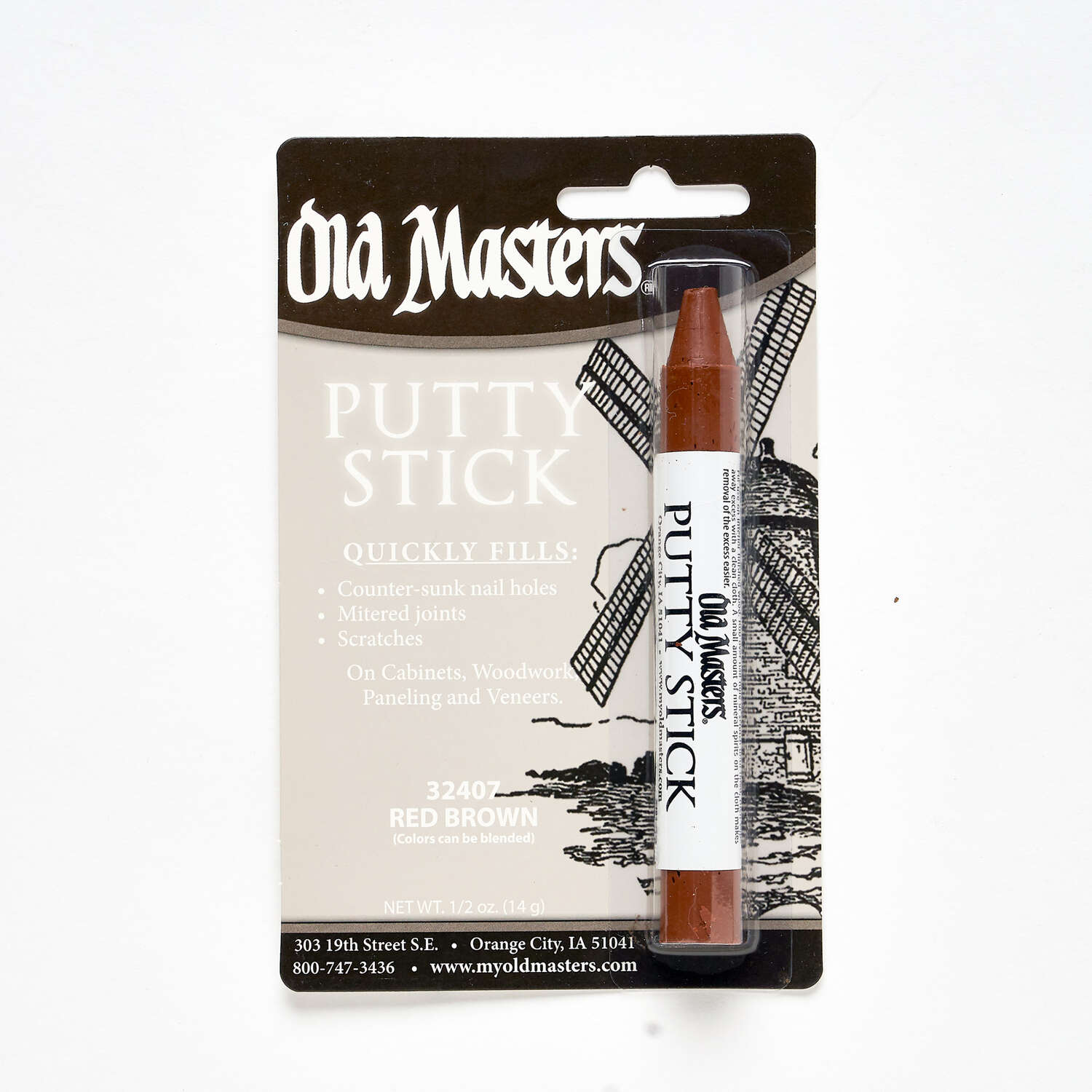 Old Masters  Red Brown  Putty Stick  0.5 oz.