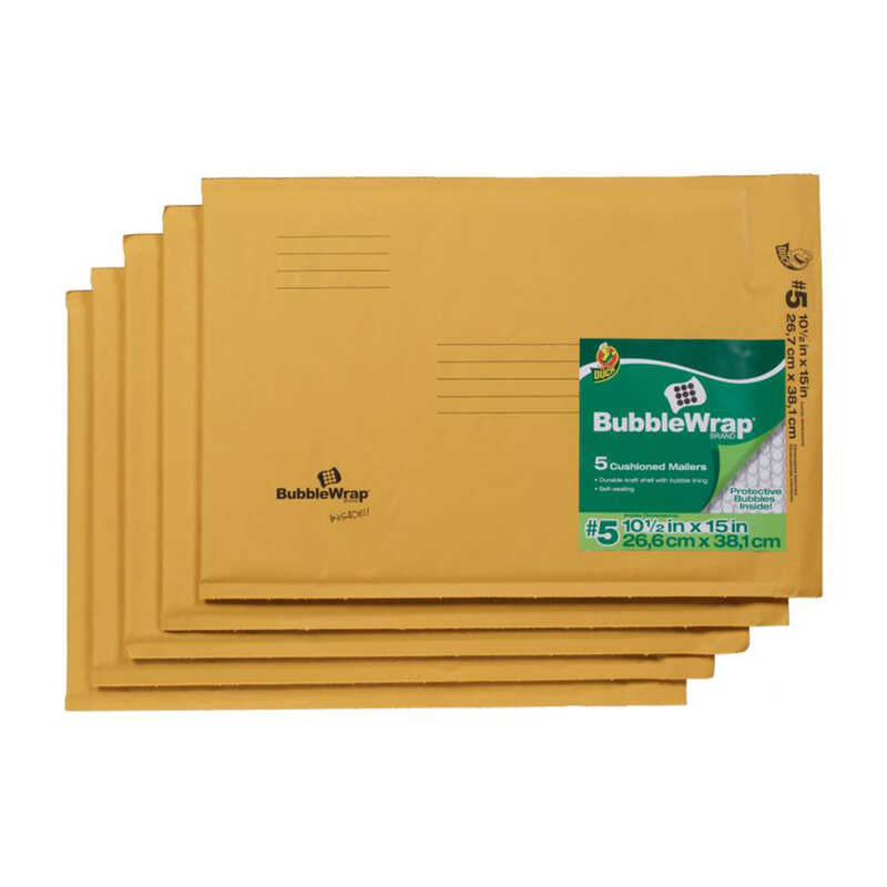 Duck Brand  10.5 in. W x 15 in. L Padded Envelope  5 pk Yellow