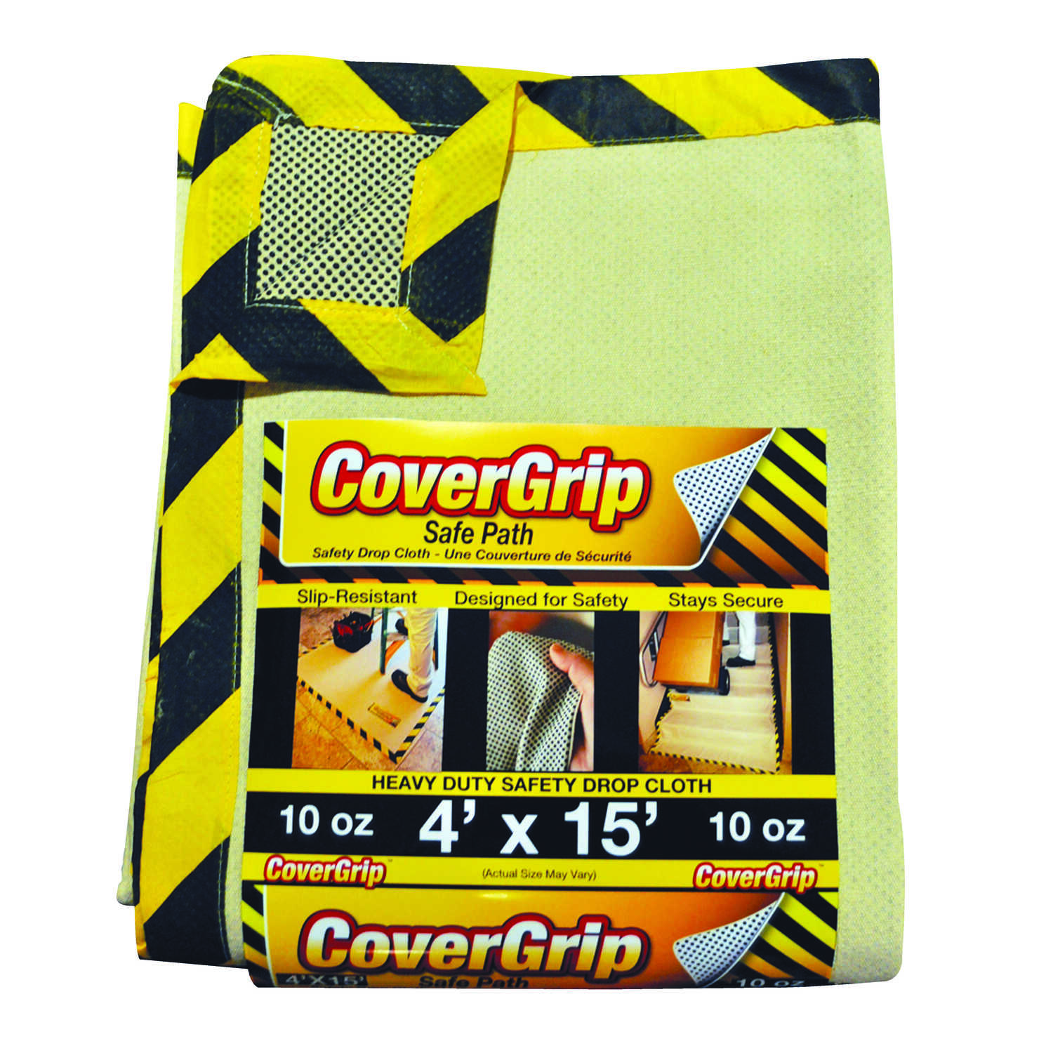 Covergrip  Light Weight  Canvas  Safety Drop Cloth  4 ft. W x 15 ft. L