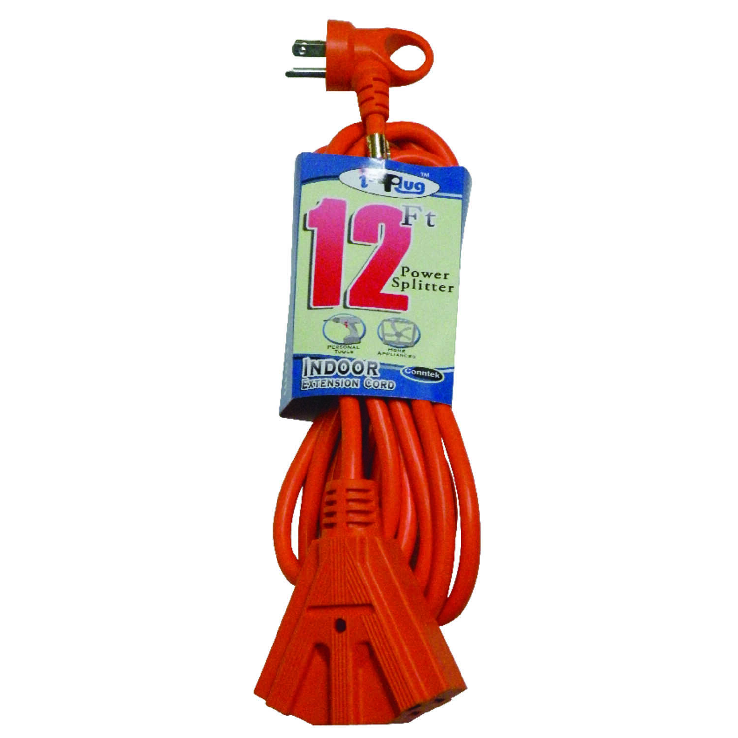 Conntek  Indoor and Outdoor  12 ft. L Orange  Triple Outlet Cord  14/3 SJT