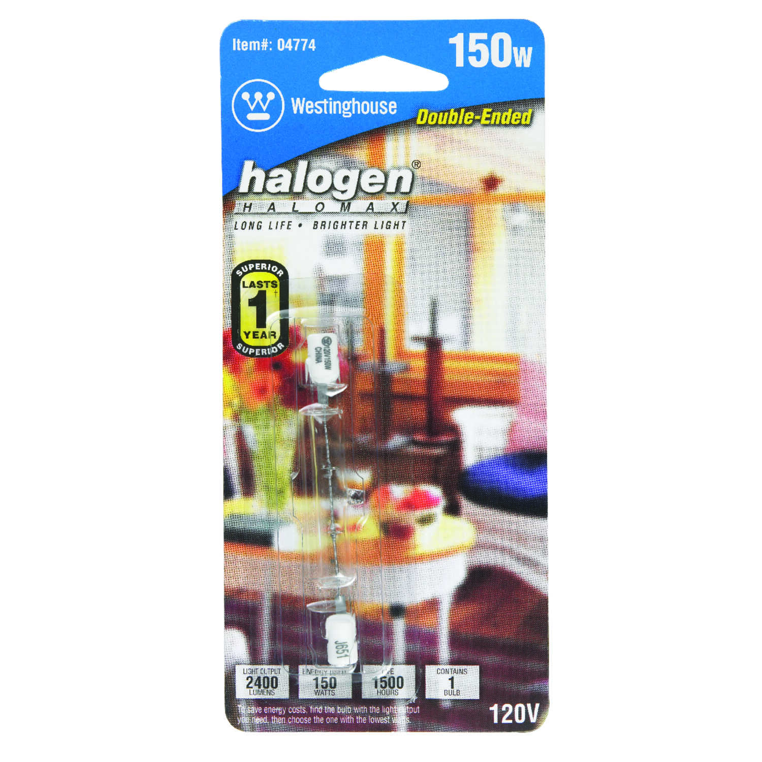 Westinghouse  150 watts T3  Halogen Bulb  2600 lumens White  1 pk Double-Ended