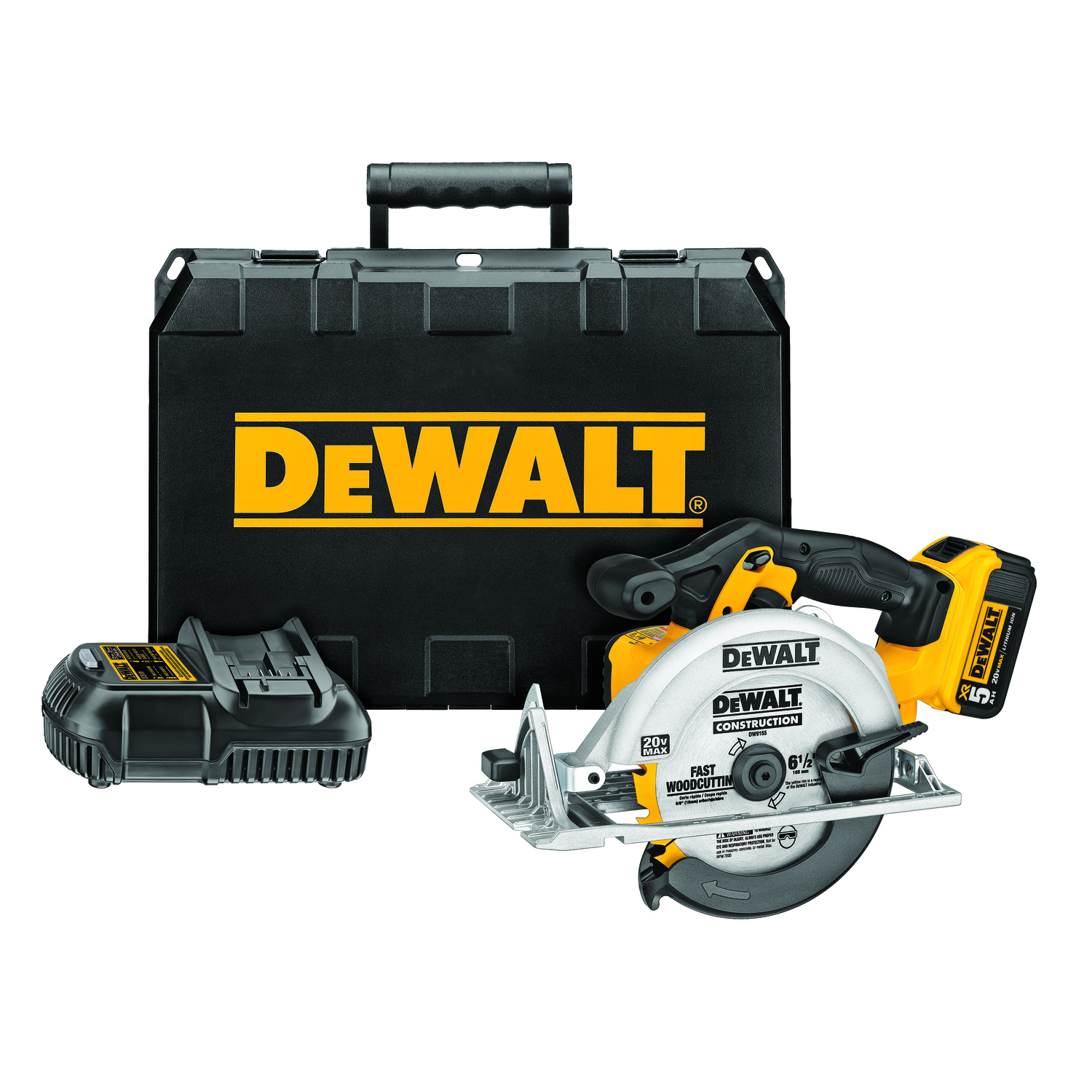 DeWalt  Cordless  20 max volts Circular Saw  5150 rpm 6-1/2 in. Kit