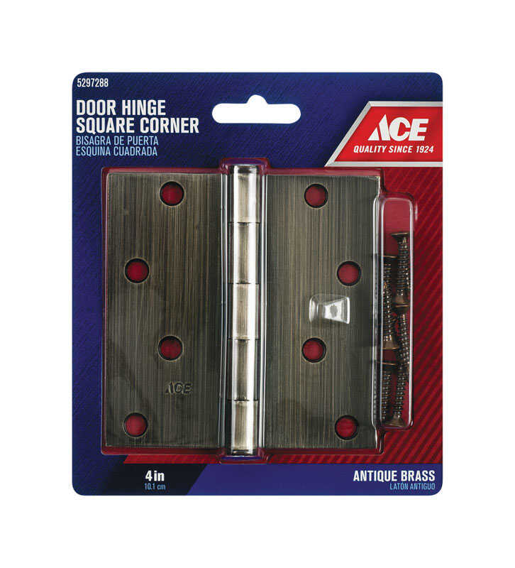 Ace  4 in. L Antique Brass  Steel  Residential Door Hinge  1 pk