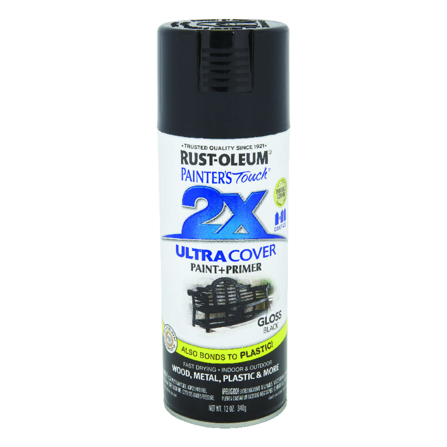 Rust-Oleum  Painter's Touch 2X Ultra Cover  Gloss  Black  Spray Paint  12 oz.