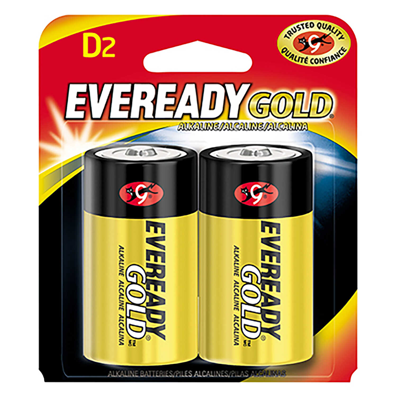 Eveready  Gold  D  Alkaline  Batteries  2 pk Carded  1.5 volts